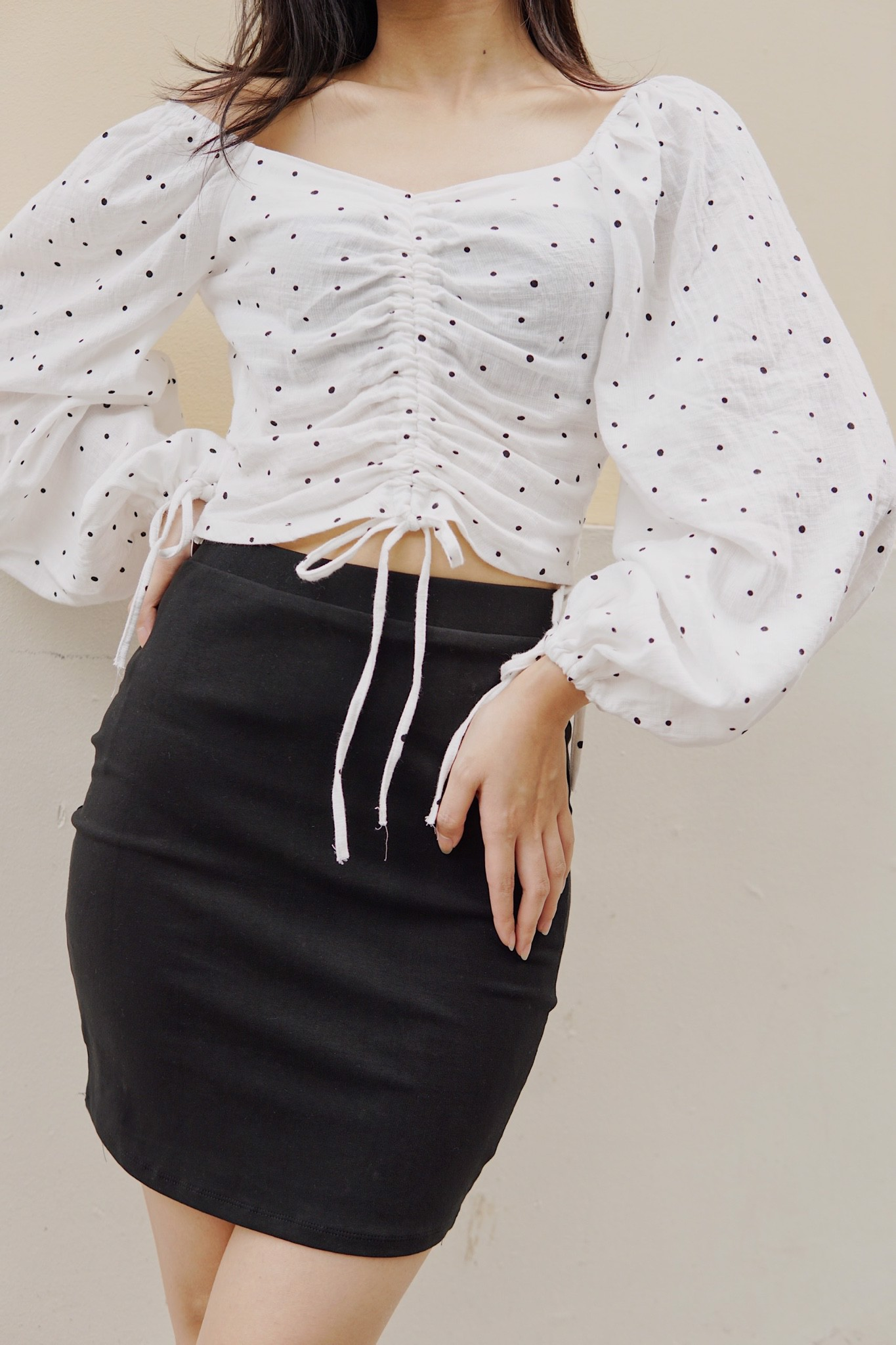 Ruched Crop Top (White)