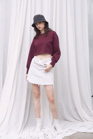 Burgundy Sweater Crop Top