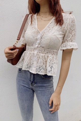Sheer Lace CropTop (White)