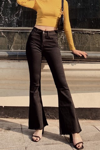 Black High-rise Flare Jeans