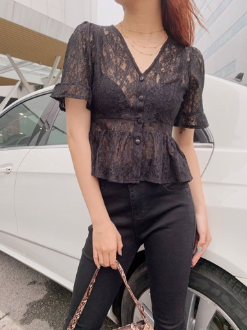 Sheer Lace CropTop (Black)