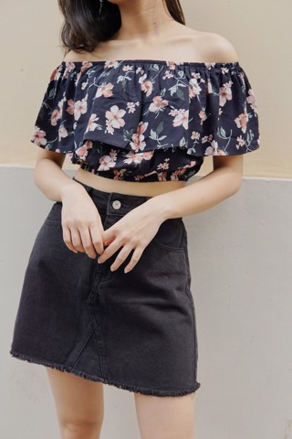 Floral Off-shoulder Crop Top