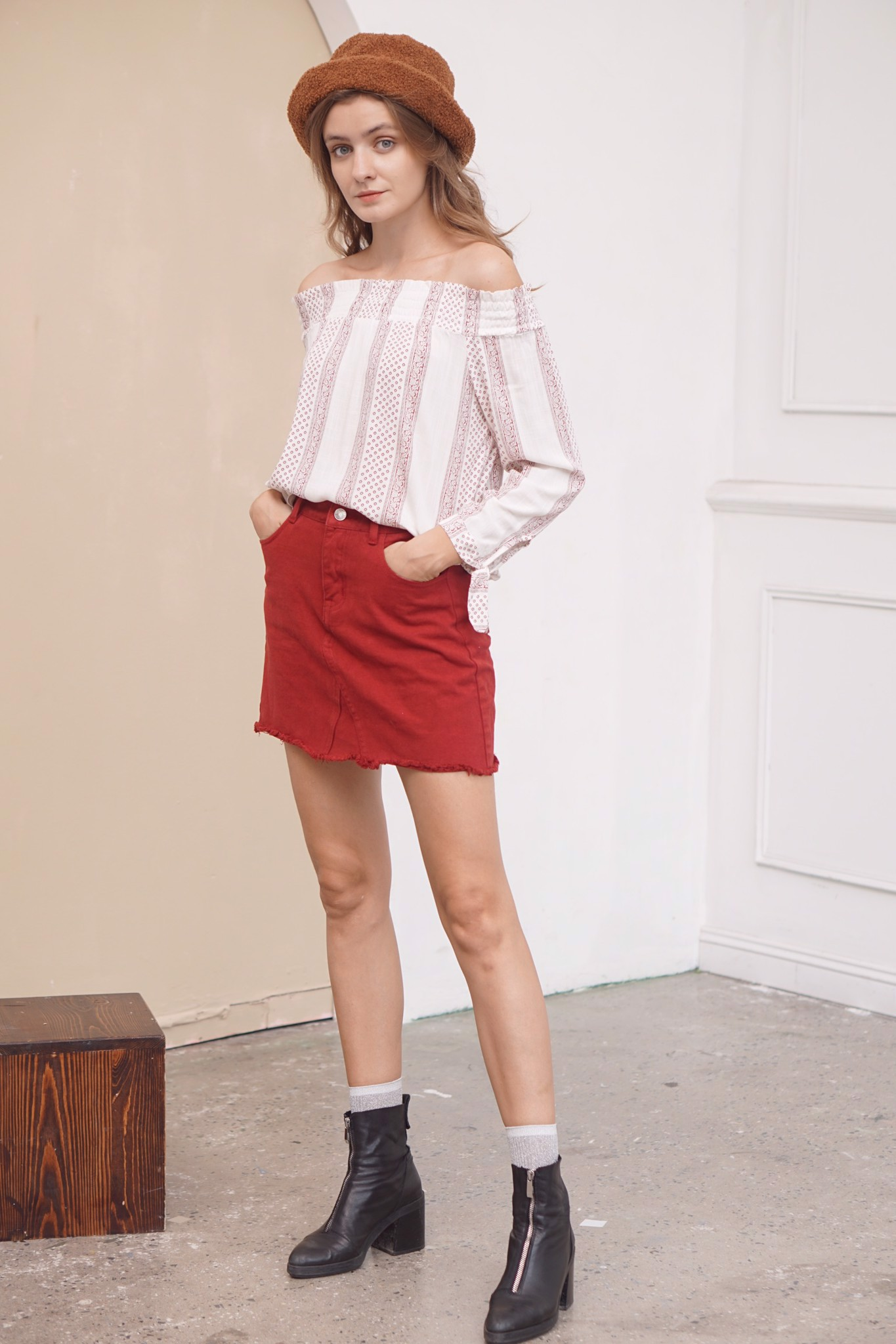 Pink Brocade Off-shoulder Top