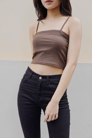 Ribbed Cami CropTop (Brown)
