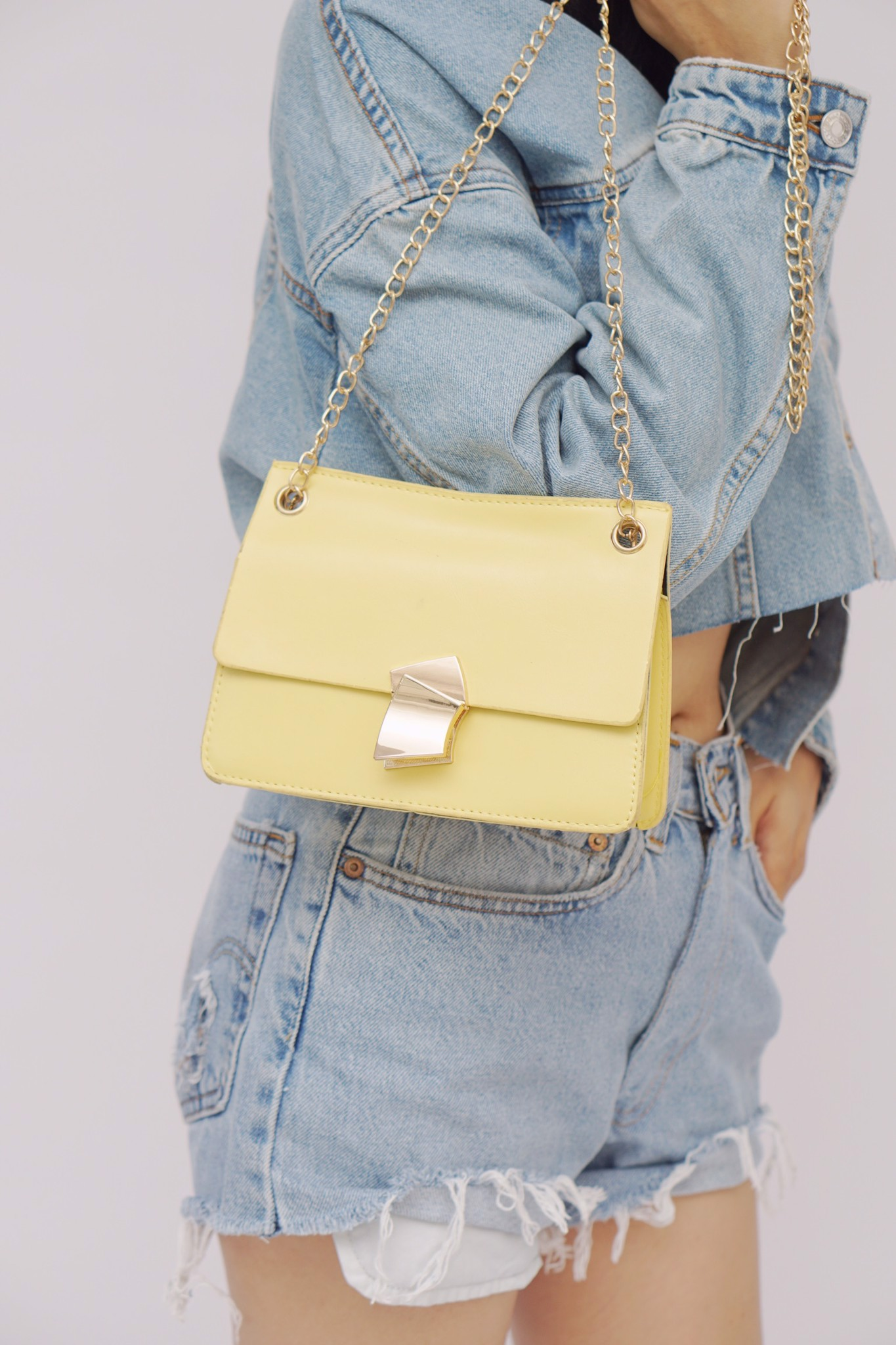 Faux Leather Crossbody Bag (Yellow)