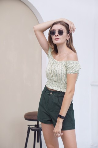Green Floral Off-shoulder Crop Top