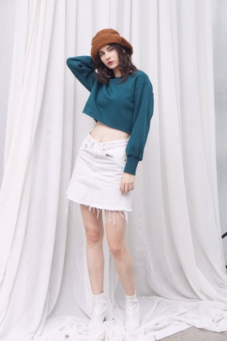 Teal Sweater Crop Top