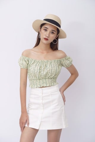 Green Floral Off-shoulder CropTop