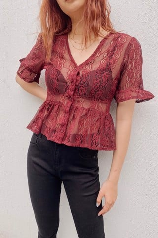 Sheer Lace CropTop (Red)