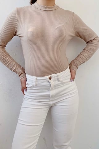 Light Brown Ribbed Top