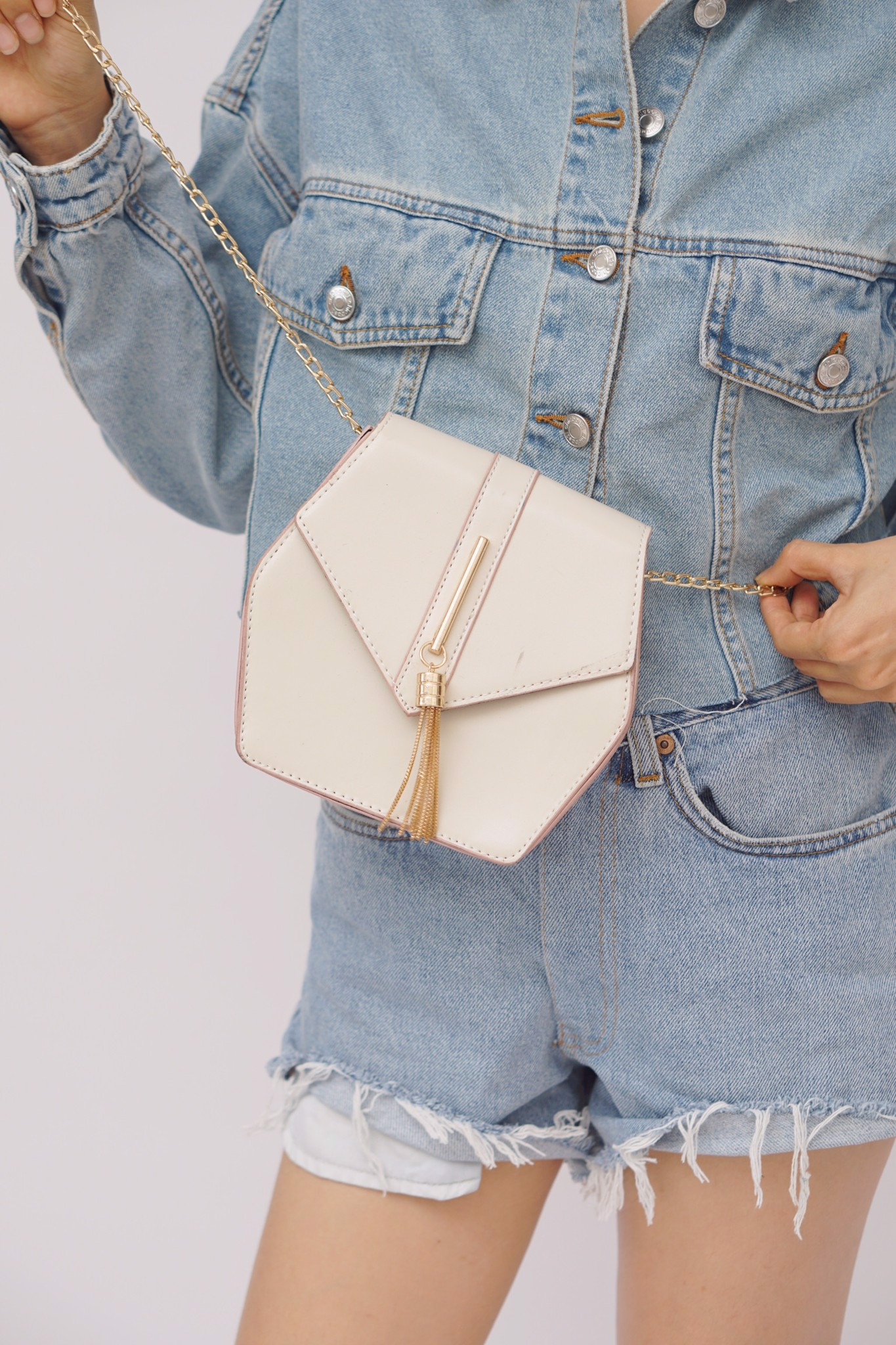 Hexagonal Faux Leather Crossbody Bag