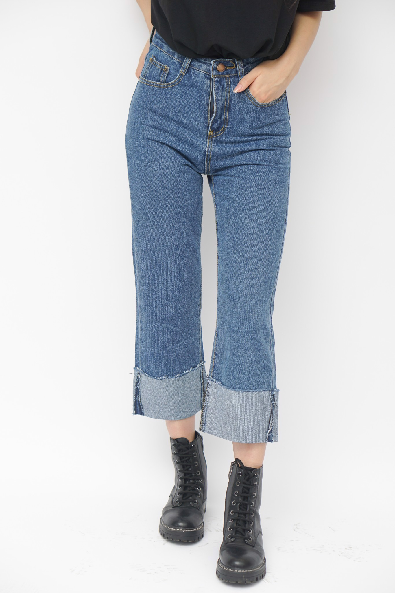 Folded Cuffs Culottes Jeans