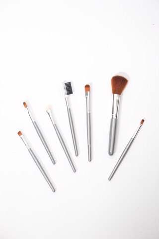 Silver Makeup Brush Set