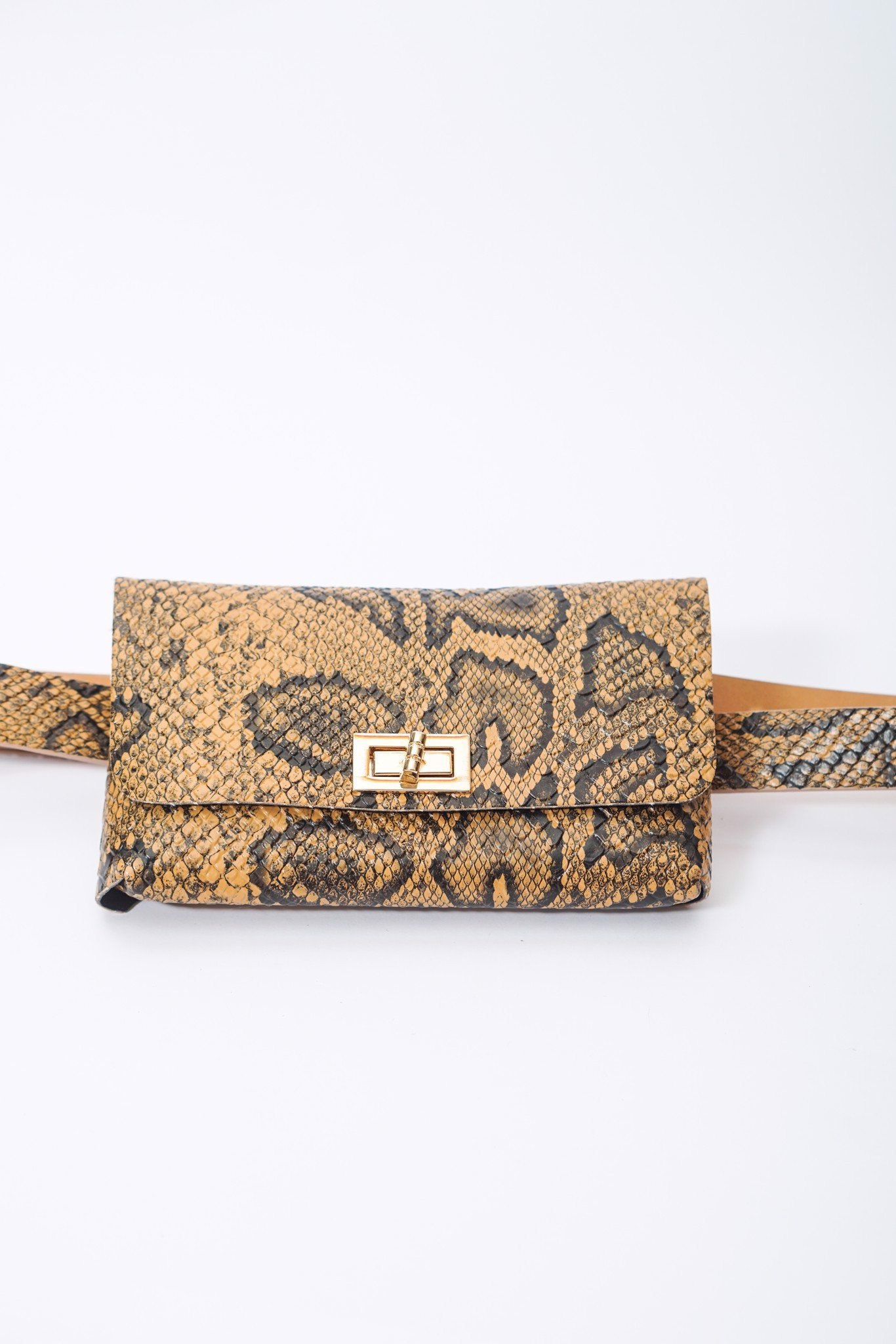 Faux Snake Leather Belt Bag