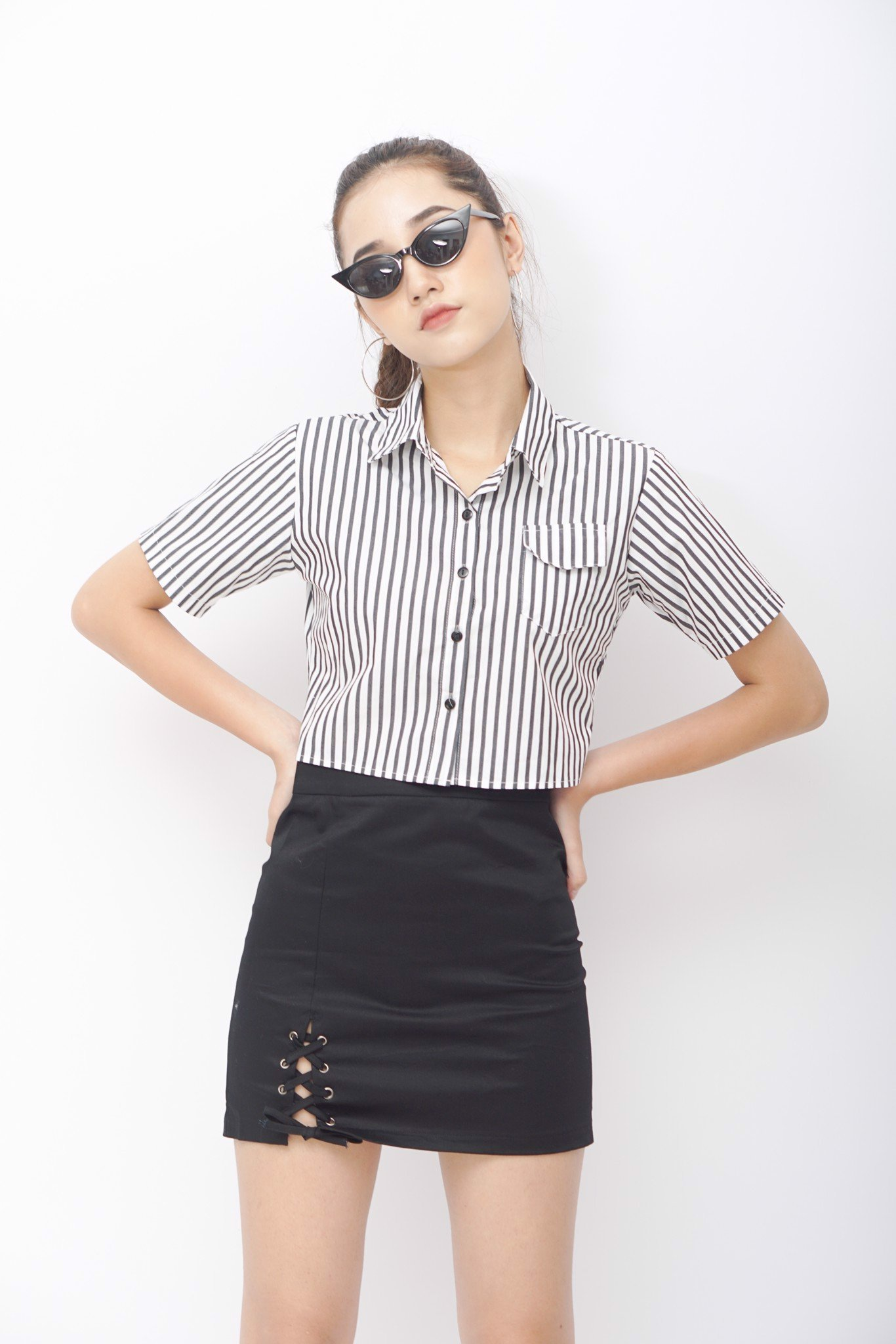 Stripe Chemise Crop Top