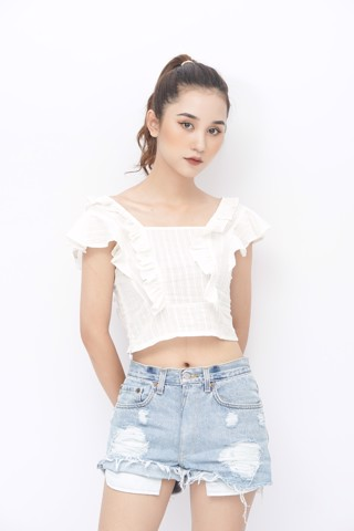 Square-Neck Crop Top (White)