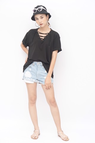 Lace-Up Top (Black)