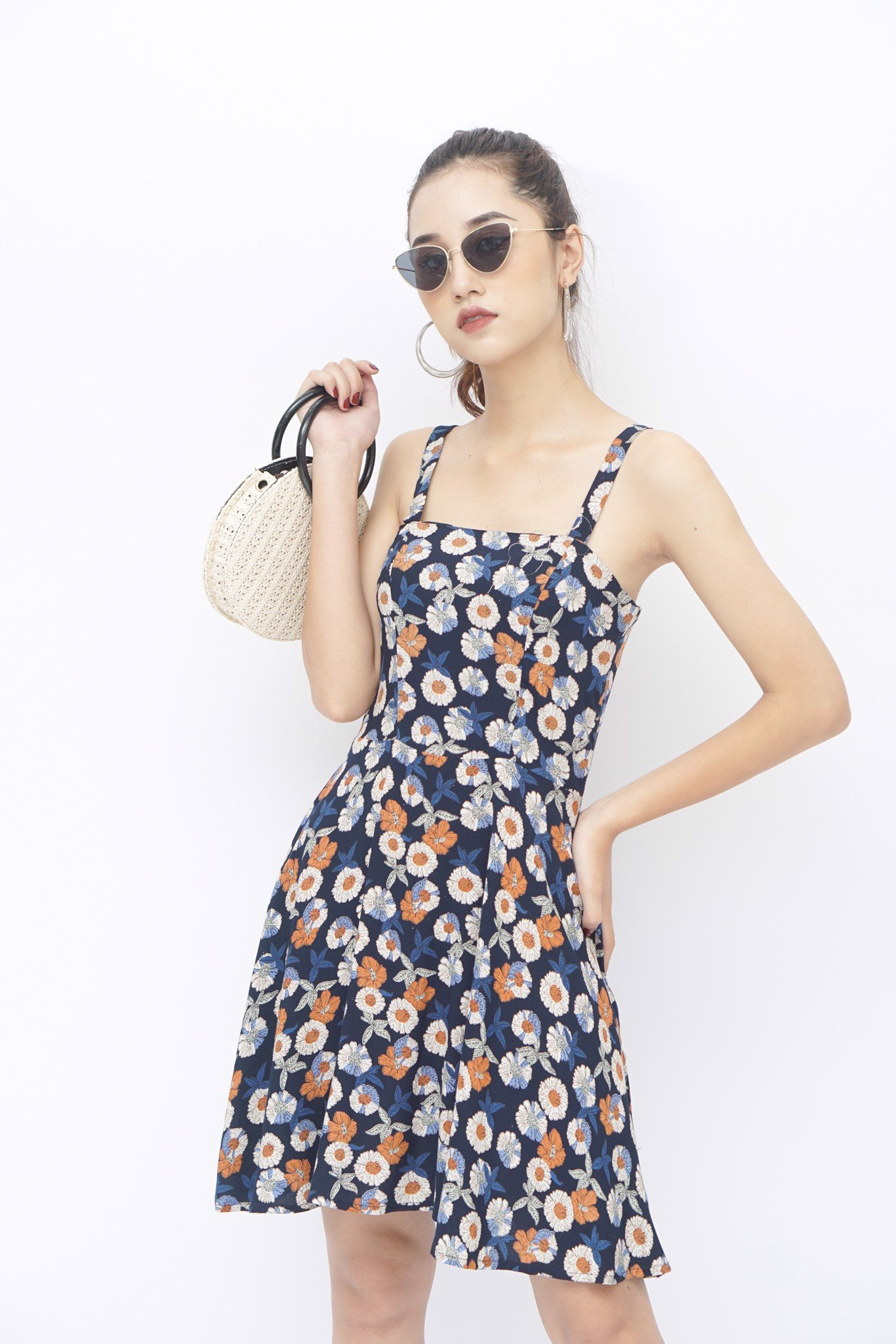 Tropical Floral Print Cami Dress