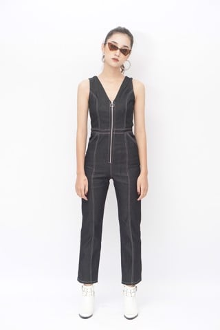 Denim Double-Breasted Flare Jumpsuit