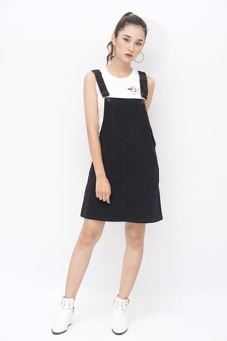 Denim Overall Mini Dress (Black)