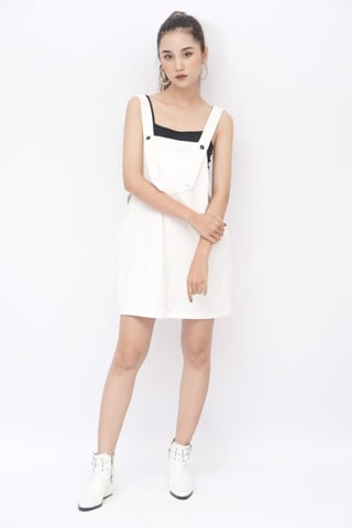 Denim Overall Dress (White)