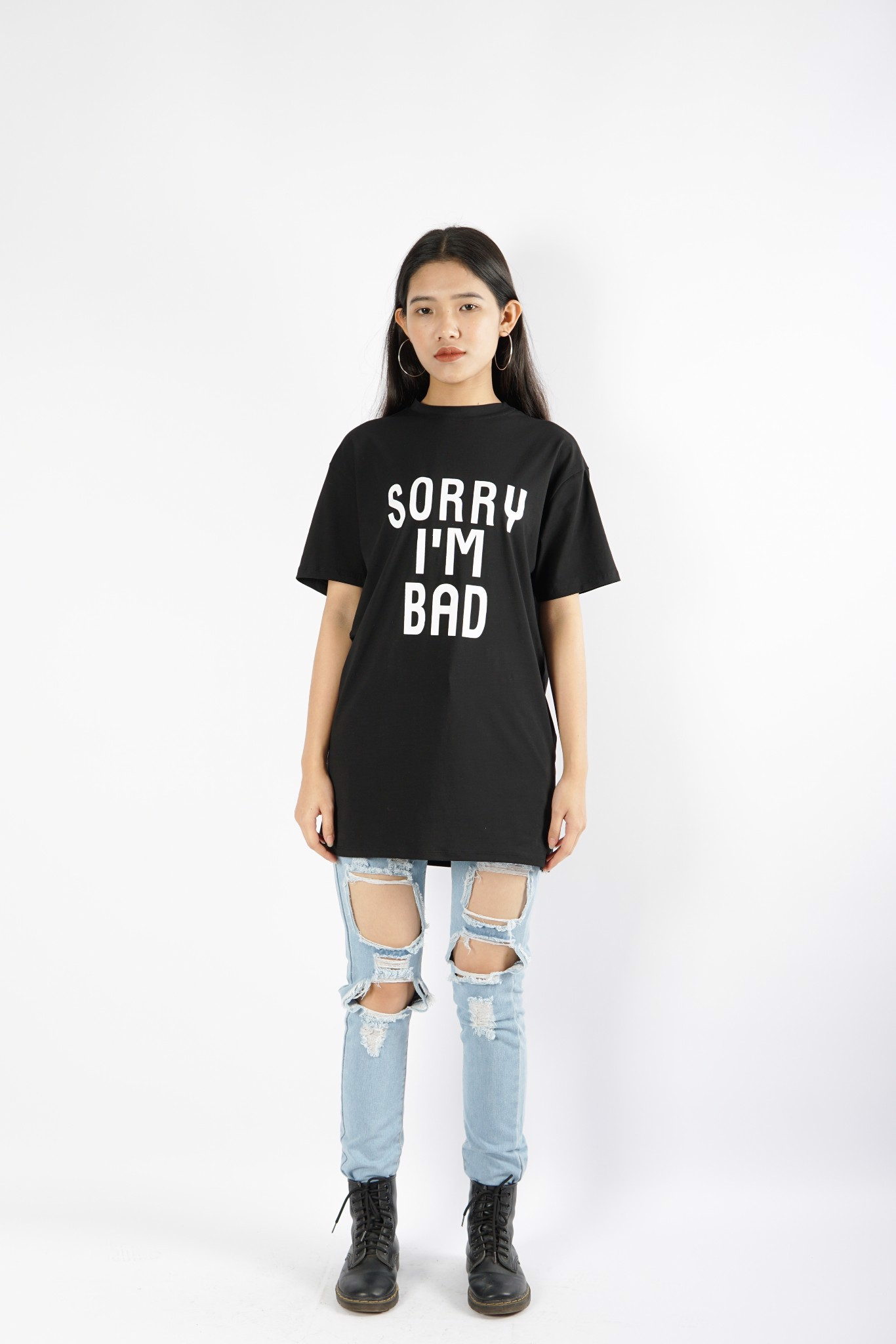 Sorry Im Bad Slogan Printed Shirt
