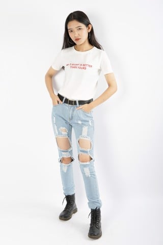 Distressed Bermuda Jeans