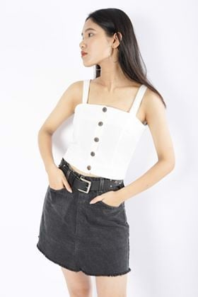 Button-Front Cropped Cami