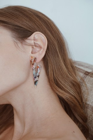 Triangle Marbled Drop Earings