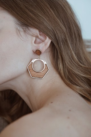 Hexagon Drop Earings