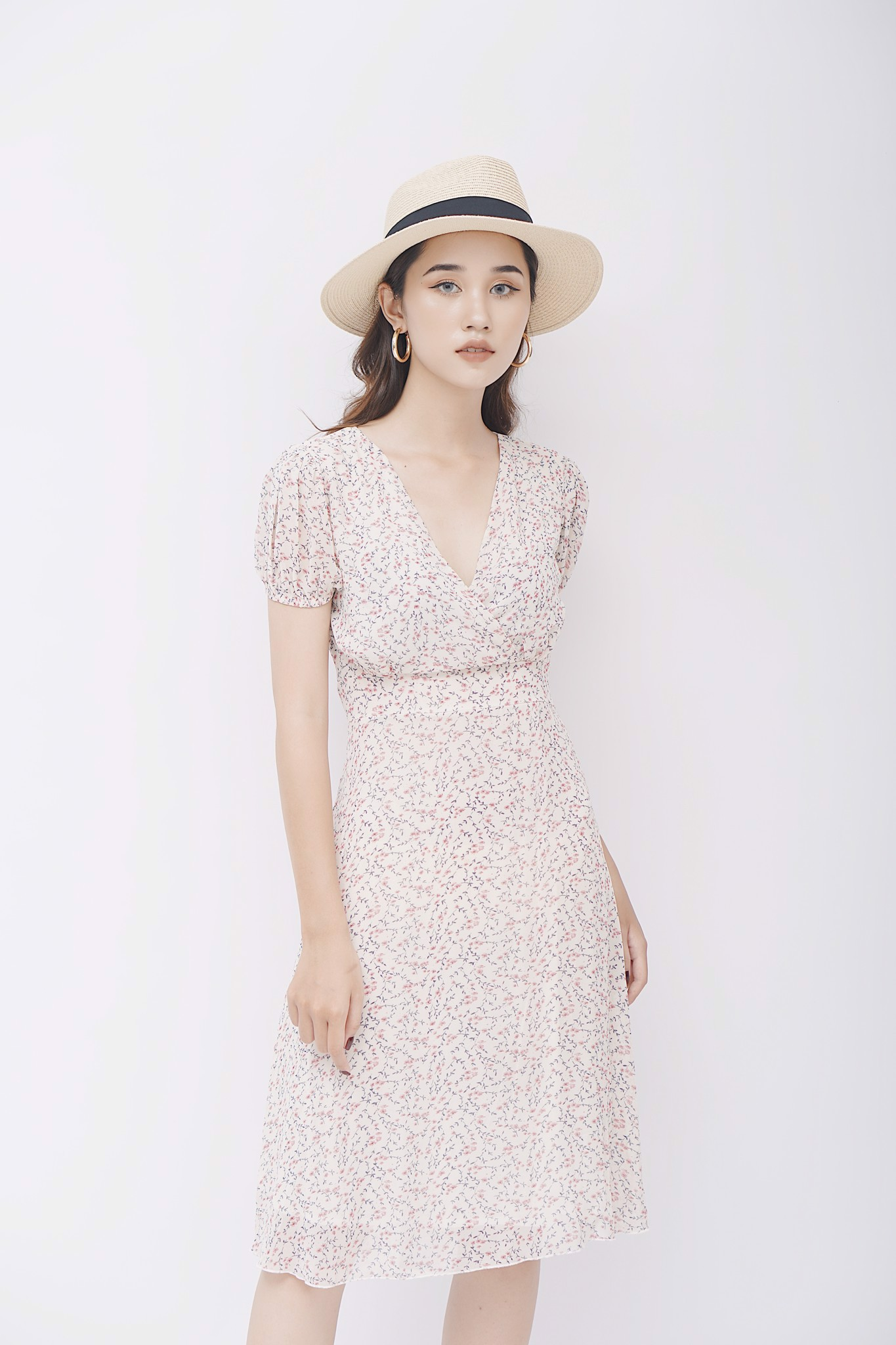 Pink Floral V-neck Long Dress