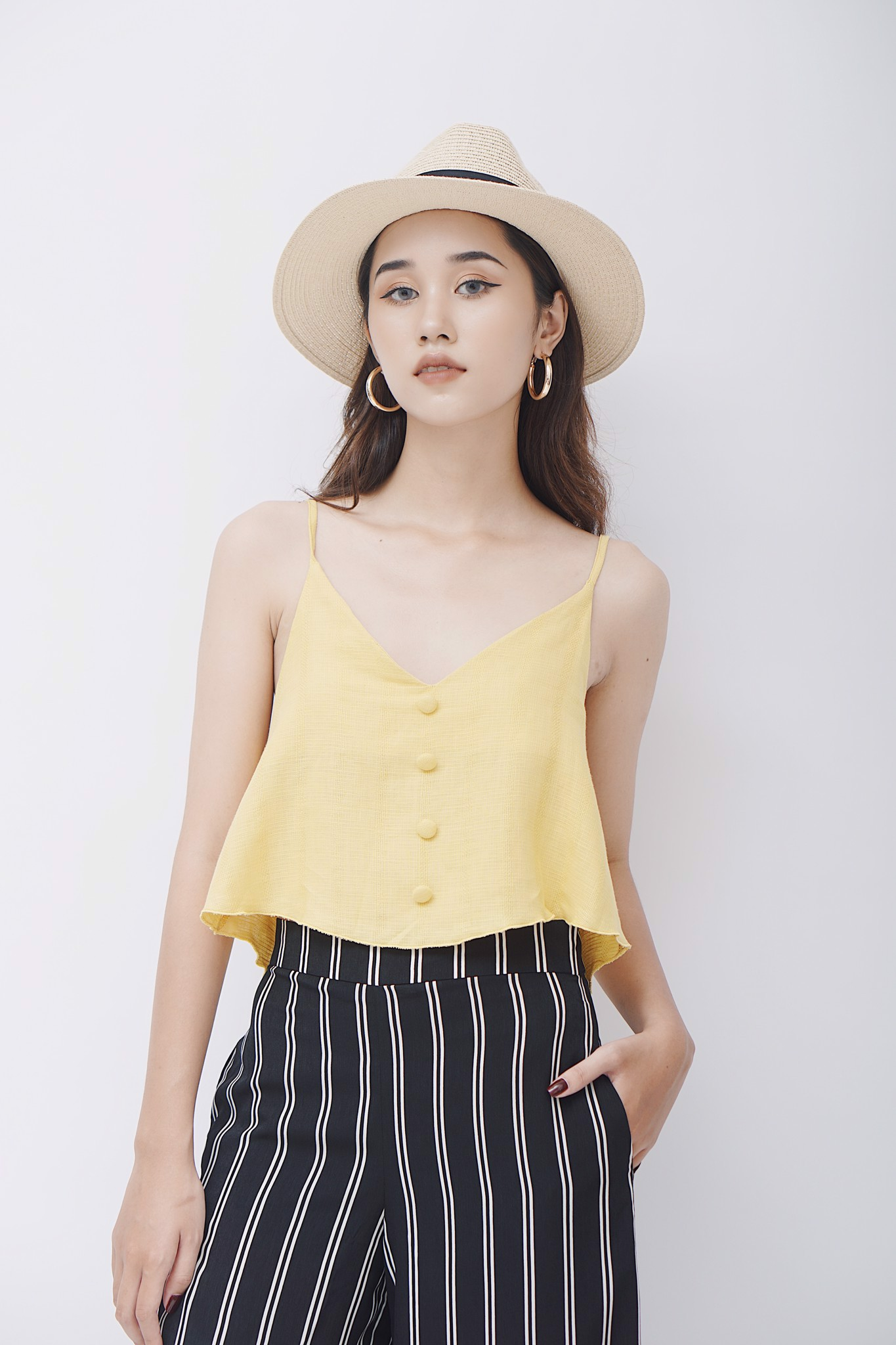 Buttoned Straight Cami Top (Yellow)