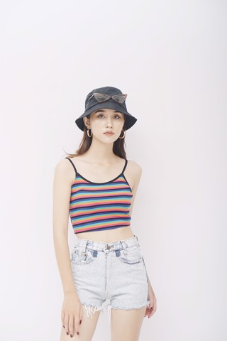 Ribbed Striped Cami Crop Top