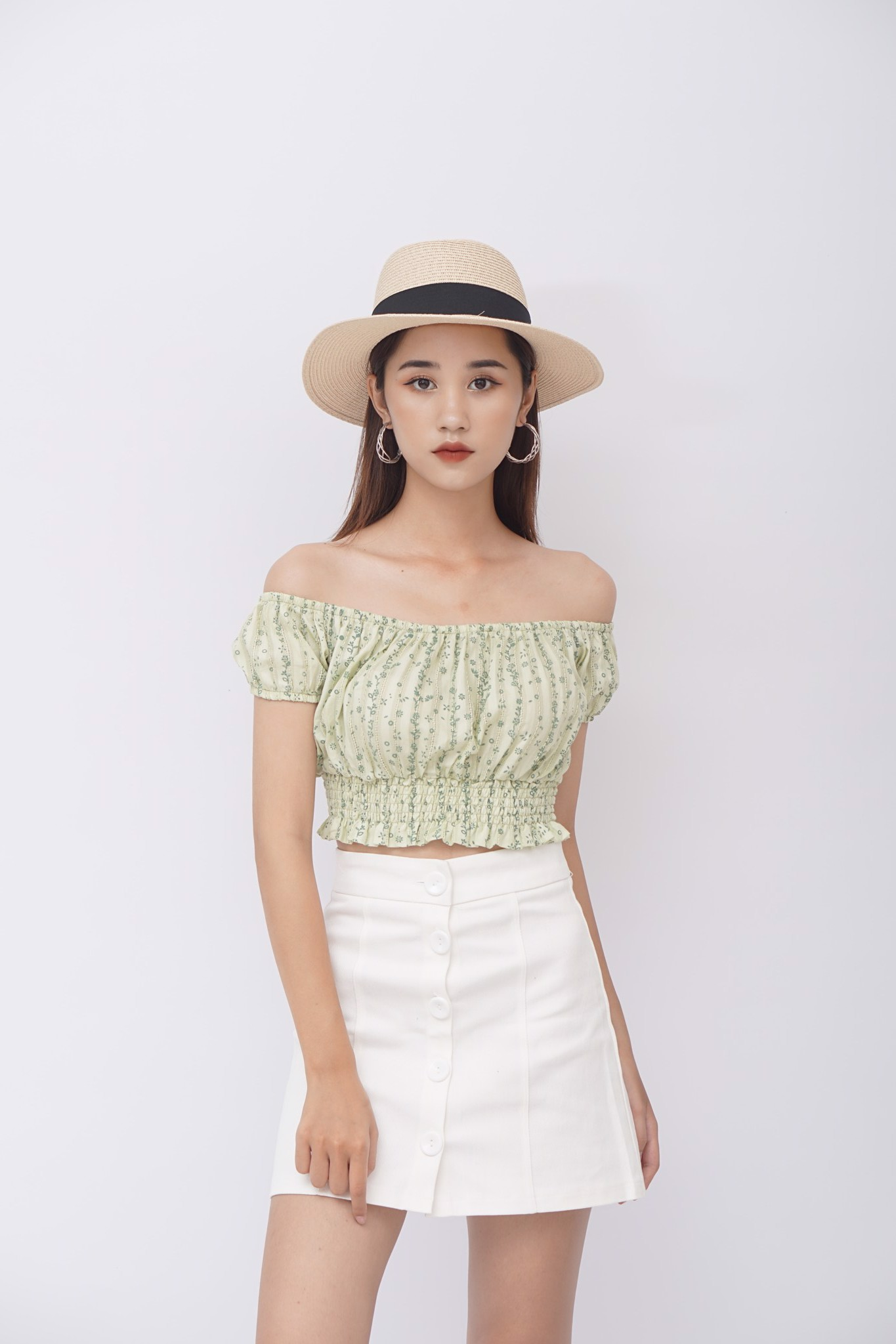 Floral Off-the-shoulder Crop Top (Green)