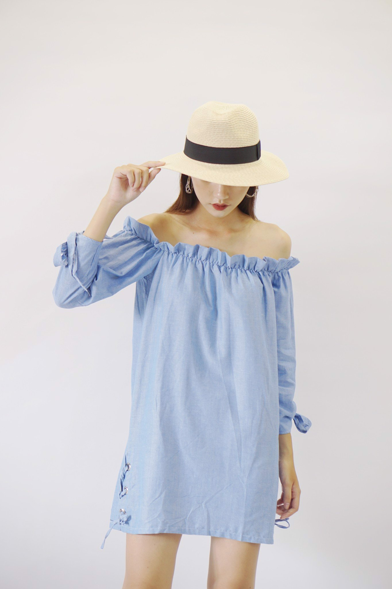 Solid Off-the-shoulder (Blue)