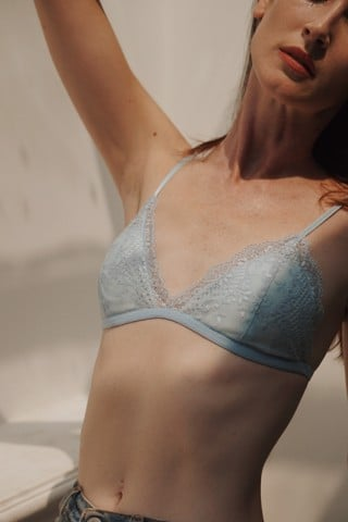 Light Blue Lace Bralettes