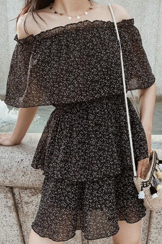 Floral Off-shoulder Dress (Black)