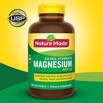 [Mỹ] Viên Uống Bổ Sung Magie Nature Made Extra Strength Magnesium 400 mg., 180 Softgels
