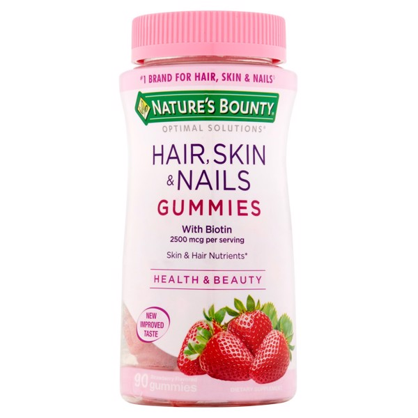 [Mỹ] Kẹo Dẻo Dưỡng Tóc Da Và Móng Nature's Bounty Optimal Solutions Hair, Skin & Nails Strawberry Flavored Gummies, 90 count