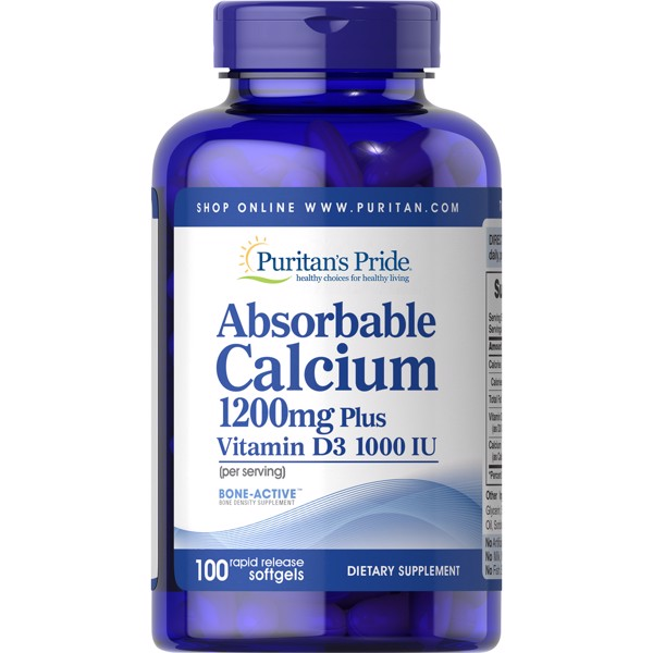 [Mỹ] Viên Uống Puritan's Pride Absorbable Calcium + Vitamin D Softgels, 1200mg 1000 IU, 100 Ct