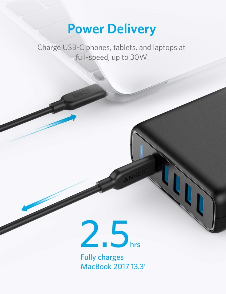 Sạc Anker 5 Cổng 60w, USB-C with Power delivery [PowerPort Speed 5]