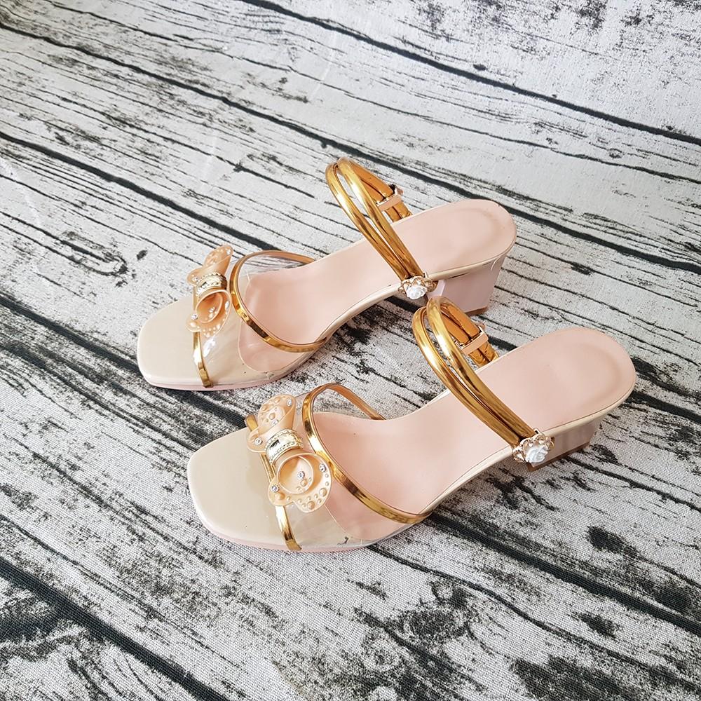 Sandal Nữ Dép Cao Gót 5cm Evelynv 5P2016 (Kem) 2