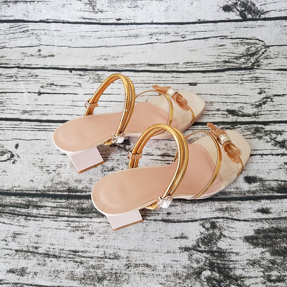 Sandal Nữ Dép Cao Gót 5cm Evelynv 5P2016 (Kem) 3