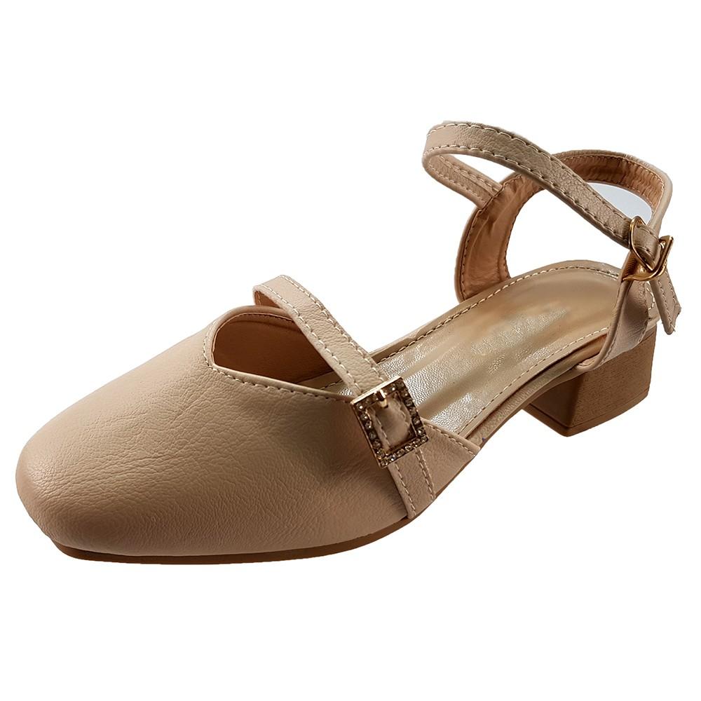 Giày Gót Vuông Giày Cao Gót 3cm Evelynv 3P4216 (Đen - Kem) 3