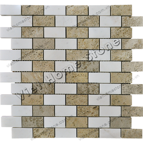 Mixed Color Brick Marble Mosaic