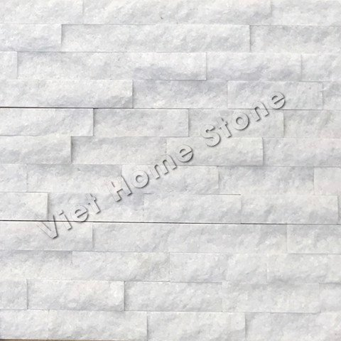 Crystal White Ledger Marble Wall Panel