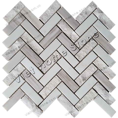Mixed Surface Herringbone Marble Mosaic