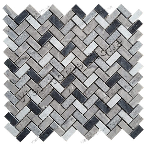 Mixed Colors Herringbone Marble Mosaic