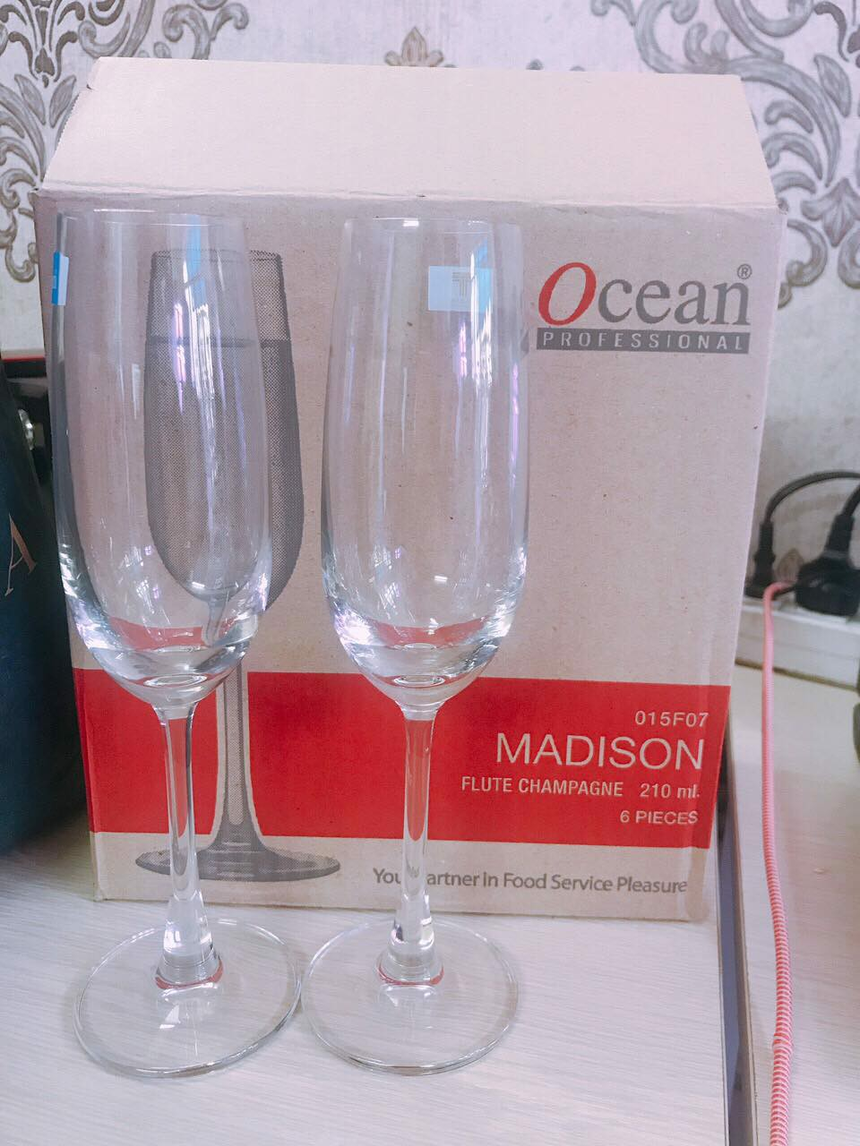 Ly Ocean MADISON Flute Champagne 210ml (Bộ 6 Ly)
