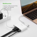 CÁP USB-C TO VGA + 2 CỔNG USB + LAN UGREEN (30439) MV